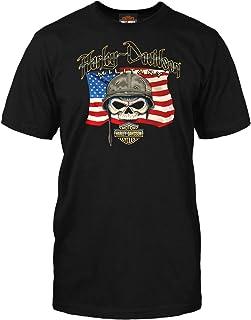 Harley-Davidson Military - Men's Custom Graphic Patriotic Skull T-Shirt - Willie G Flag   Overseas Tour