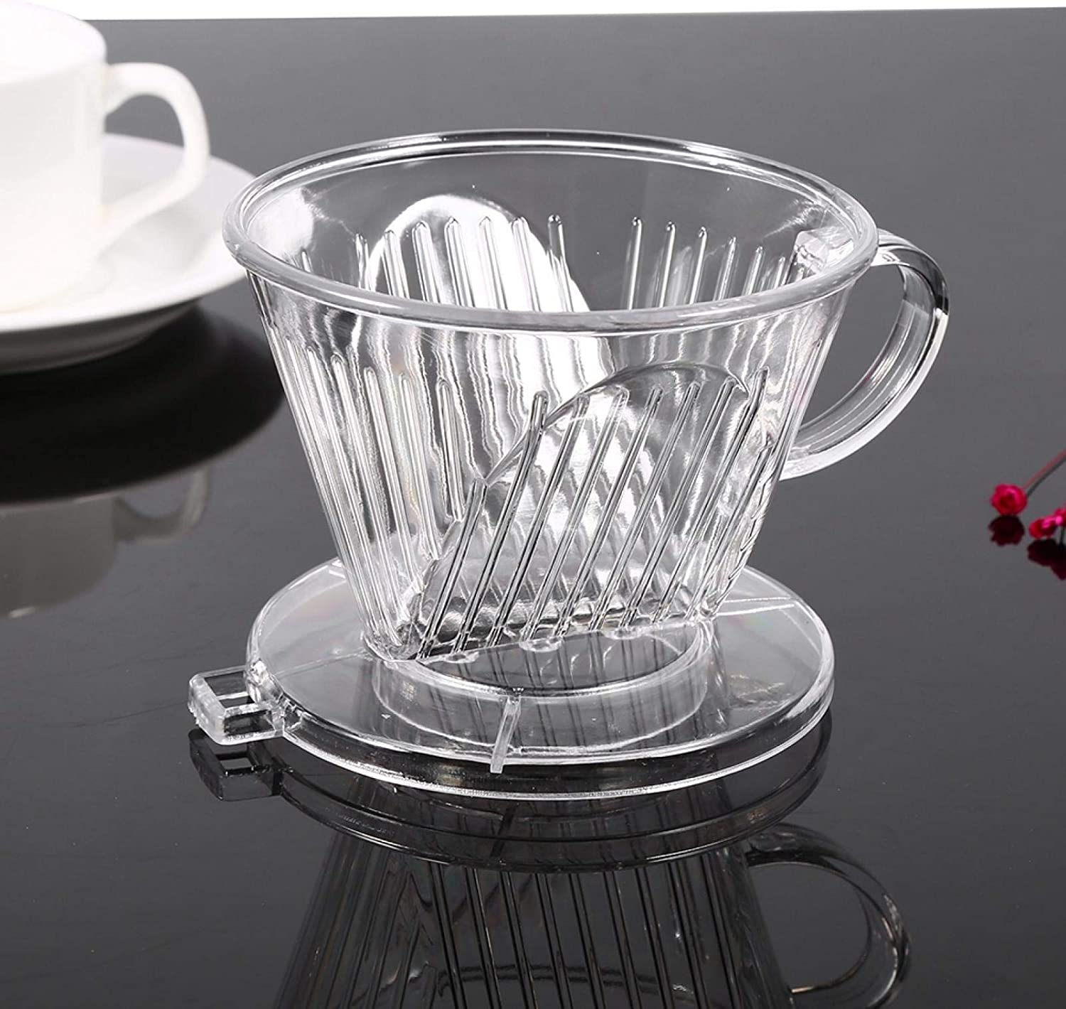 KIRSTHM Transparent Reusable Classic Coffee Filter Shaped Los Angeles Mall Co Resin Cone-