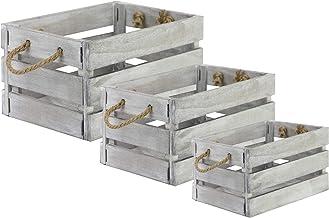 Wooden Storage Crates - Set of 3   Vintage Display Bushel Boxes With Rope Handles   Decorative Grey Storage Basket   Rusti...