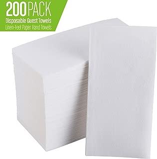 FOCUS LINE White Napkins for Wedding Reception, Guest Towels Disposable, Decorative Hand Towel, Linen Feel Disposable Hand Towels for Guest Bathroom, Kitchen,Party(200pcs)