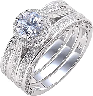 Wuziwen Round Halo Wedding Rings for Women Engagement Ring Set 925 Sterling Silver Size 5-12
