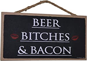 """Popfizzy Wood Sign Beer Bitches and Bacon Hanging Wall Decoration Funny Signs for Home Decor Fun Office Signs 5x10"""""""