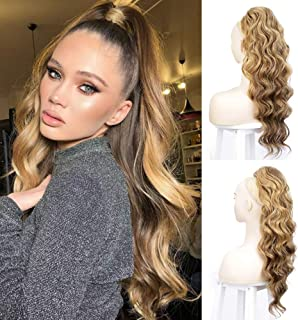 Body Wavy Ponytail Extension Clip in Ponytail Heat Resistant Synthetic Long Wave Drawstring Ponytail Hair Piece for Women ...