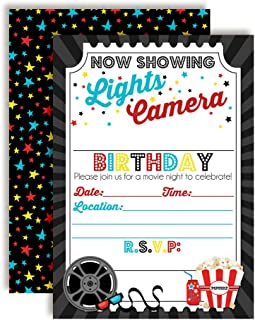 Movie Night Birthday Party Invitations for Boys, 20 5