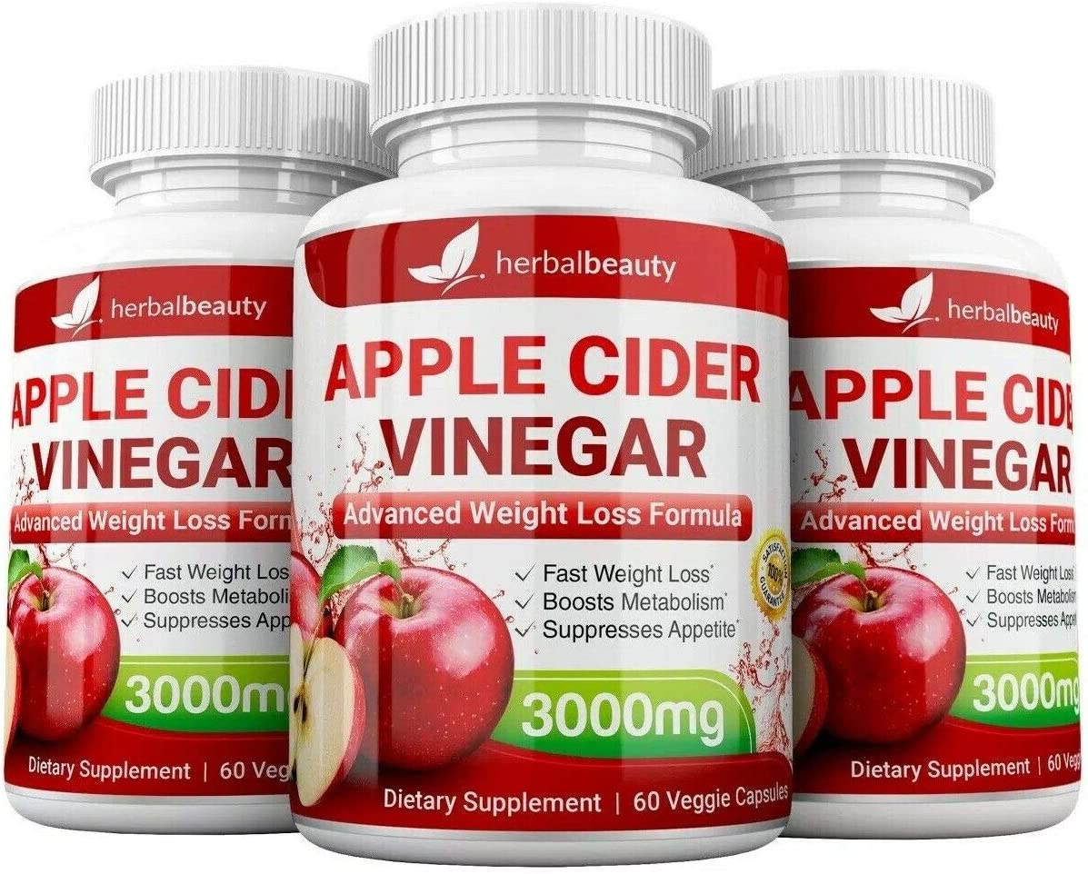 High Strength Raw Rare Apple Cider Capsules 3000mg Fashionable Pure Vinegar Weigh