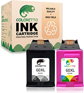 Coloretto Re-Manufactured Printer Ink Cartridge Replacement for HP 60 60XL 60 XL,Ink Level Display for CC641WN CC644WN for Photosmart C4680 D110 Deskjet D2680 D1660 D2530 F2430 F4210(1 Black+1 Color)