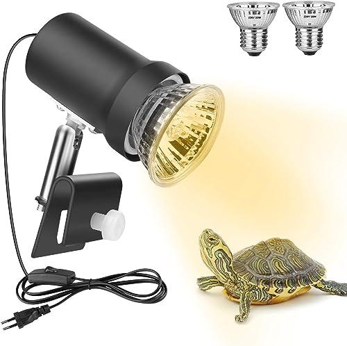 Zacro Lámpara para Tortuga, 360° Rotación Lámpara de Calor Reptil Anfibioss Lámpara de Cristal de Tortuga UVA (25W) U...