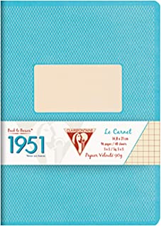 Clairefontaine A5 Back to Basic 1951 Cloth Bound Notebook, 192 Pages, Lined, Turquoise