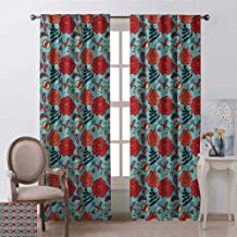 Michael Denis Floral Shading Insulated Curtain Fern Leaves Flower Petals Venus Flytrap Flourishing Mother Earth Beauty Pattern Soundproof Shade W52 x L72 Inch Multicolor