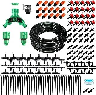 Cabilock Garden Irrigation Drip System Kit Garden Plant Watering Sprinkler Distribution Tubing Hose Adjustable Nozzle for ...