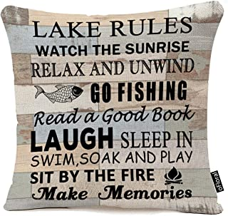 "Best Retro Wood Grain Background Lake Rules Watch The Sunrise Relax Go Fishing Make Memories Cotton Linen Square Decorative Home Indoor Throw Pillow Case Cushion Cover 18""X18 Review"