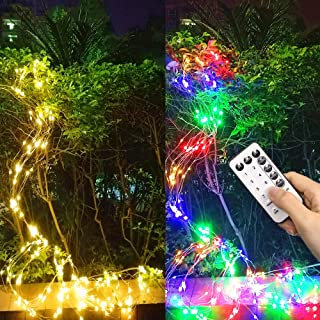 Twinkle Fairy Lights Battery Operated LED Waterfall String Lights 280 LED 10 Strands Hanging Twinkle Waterproof Silver Wir...