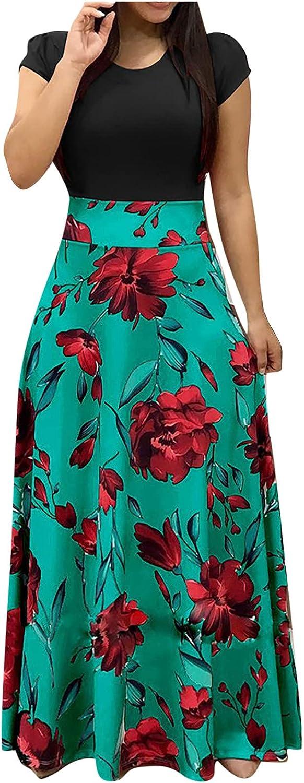 Lucktop Maxi Dress Summer Women Short Sleeve Waisted Maxi Dress Boho Print Maxi Dresses Casual Long Maxi Dresses Party Dress