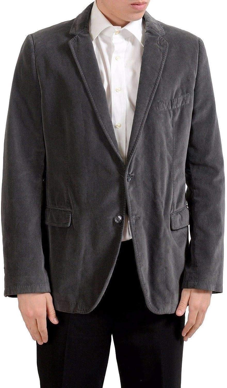 Dolce & Gabbana Men's Velour Two Button Gray Blazer Sport Coat US 44 IT 54