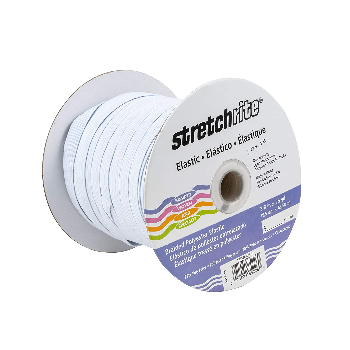 Stretchrite 1PSS38WHTE StretchRite 3/8-Inch by 75-Yard White Polyester Braided Elastic Roll