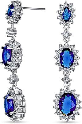 Orecchini lampadario CZ a triplo ovale blu reale lungo per donne cubico zirconia argento placcato in ottone