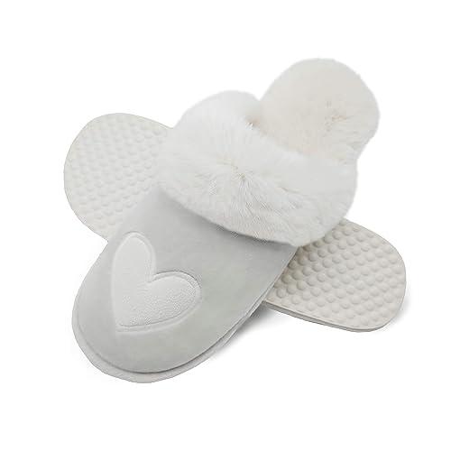 1d31bcaa4bb Finoceans Slippers Mens Womens Faux Fur Memory Foam House Bedroom Indoor  Outdoor Winter Shoes