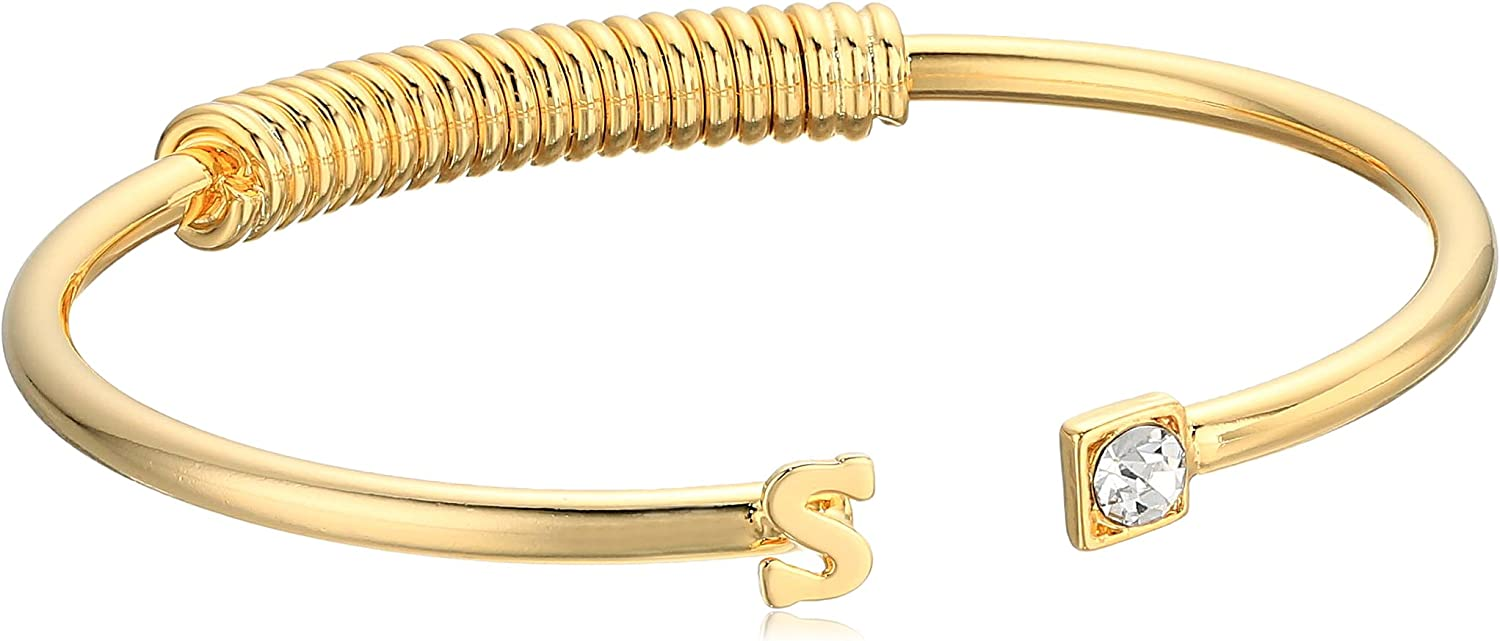 1928 Jewelry 14K Gold-Dipped Initial and Clear Crystal Accent C-Cuff Bracelet