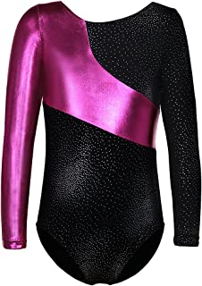 Gymnastics Leotard for Girls Stripe Starry Sky Long Sleeves Athletic Unitard for Little Girls 2-15 Years