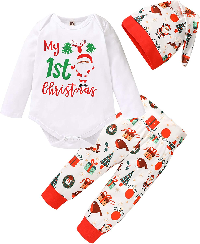 Infant Baby Girl Boy My 1st Christmas Outfit Letter Romper Bodysuit Santa Tree Reindeer Pants Hat 3Pcs Clothes Set