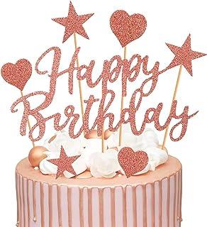 Humairc Tortendeko Rosegold 2 Pack Geburstagstorte Deko Happy Birthday Girlande Herze Sternen Cake-Topper Kuchen Aufsätze für Mädchen Frauen Rosegold