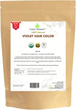 USDA Organic Hair Coloring & Conditioning Powder By Cosmic Element - 114 Gram (4 Oz) Medium Pack - 100% Chemical Free Natural Henna Hair Dye - Vegan Safe - For Men & Women (4 oz, Violet)