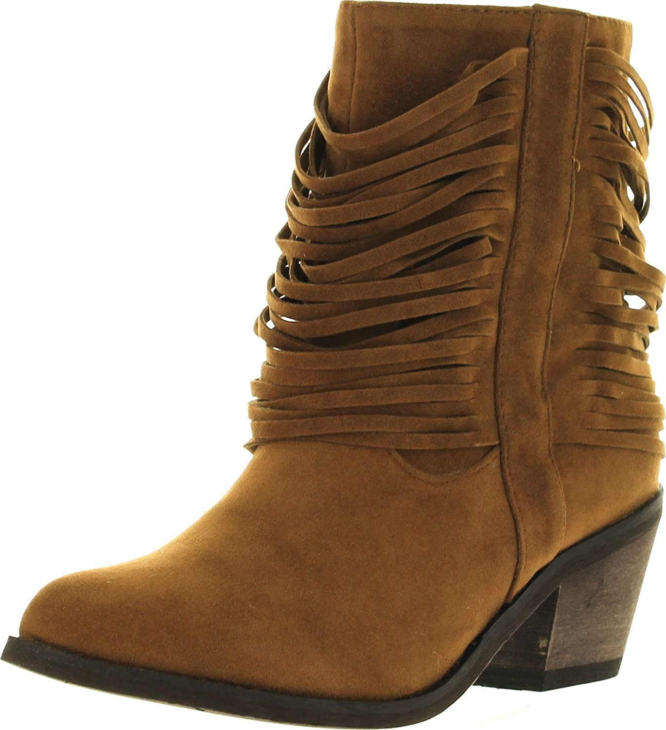 Lolli Couture Westwood FAUX SUEDE SHREDDED FRINGE MID ANKLE COW BOY BOOTS shoes