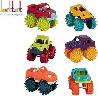 Battat Mini Monster Trucks – Set of 6 Mini Trucks for Toddlers in Storage Bag for 2 years +