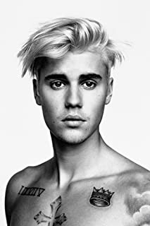 TST INNOPRINT CO Justin Bieber Body Tattoos Black and White Poster 20x30