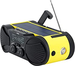 Emergency Weather Radio 4000mAh - Portable, Solar Powered, Hand Crank, AM FM NOAA Weather Stations, USB Cell Phone Charger, SOS Alarm, LED Flashlight & Reading Light Radio - Buzz4000