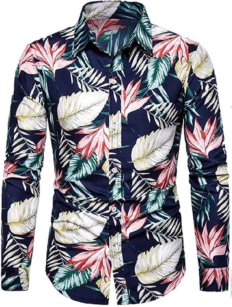 Huangse Men's Flower Luxury Printed Long Sleeve Button Down Hawaiian Shirt for Men Printed Loose Casual Vacation Style Shirt