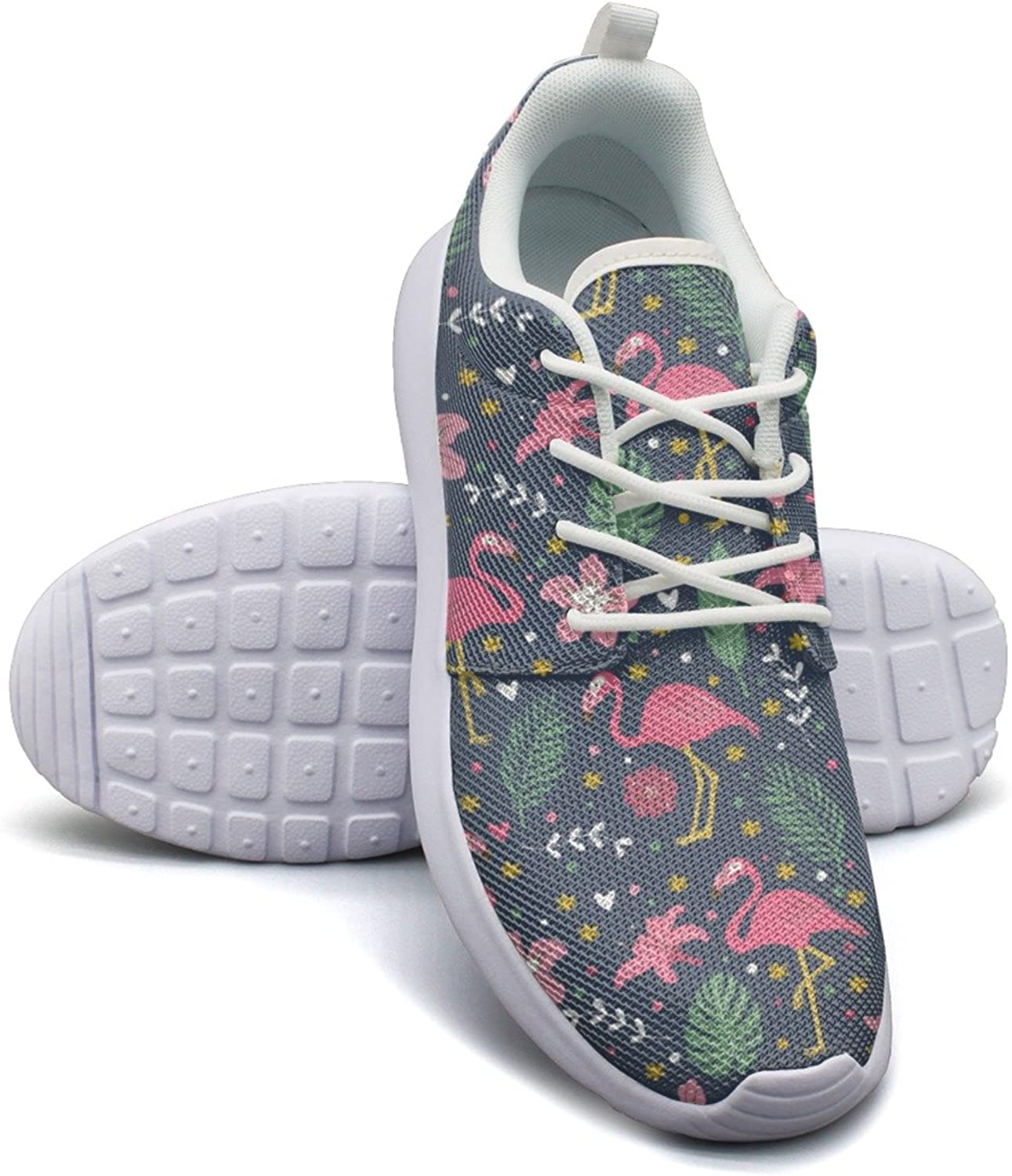 Eoyles gy Pink Cute Flamingo with Flowers Women's Slip Resistant Lightweight Running Basketball shoes