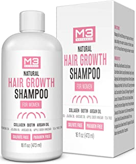 M3 Naturals Hair Growth Shampoo for Women Infused with Biotin, Collagen and Essential Oil for Dry, Itchy, Flaky Scalp - Prevent Thinning Hair and Head Lice - Hydrating Anti Fungal, Sulfate Free 16 oz
