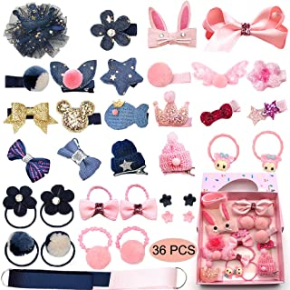 Baby Girl's Hair Clips Cute Hair Bows Baby Elastic Hair Ties Hair Accessories Ponytail Holder Hairpins Set For Baby Girls Teens Toddlers, Assorted styles, 36 pieces Pack PH0053B