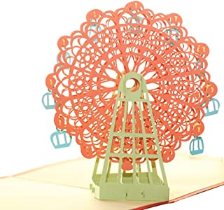Creative 3D Greeting Card Handmade Paper Carved Hollow Birthday Children Ferris Wheel Orange