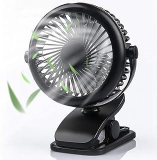 Stroller Fan Clip on Fan, USB Fan with Adjustable Speeds, Rechargeable 2200mA Battery, 360° Rotation, Mini Portable Table ...