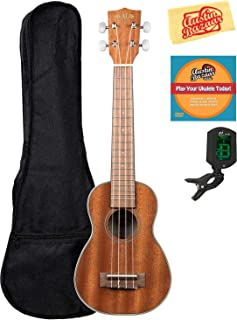 Kala KA-SLNG Gloss Mahogany Long Neck Soprano Ukulele Bundle with Gig Bag, Tuner, Austin Bazaar Instructional DVD, and Polishing Cloth