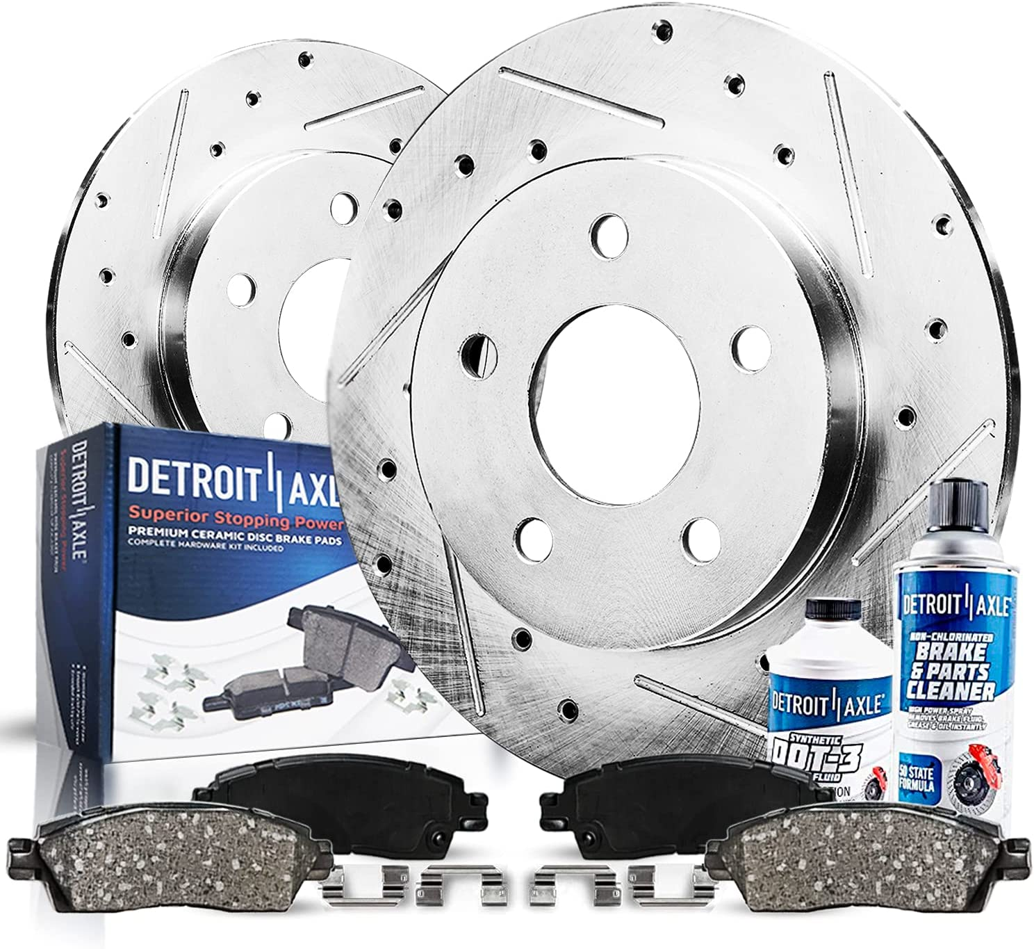 Free Shipping Cheap Bargain Gift Detroit Axle - Rear Drilled and Washington Mall Kit Ceram w Rotors Slotted Brake