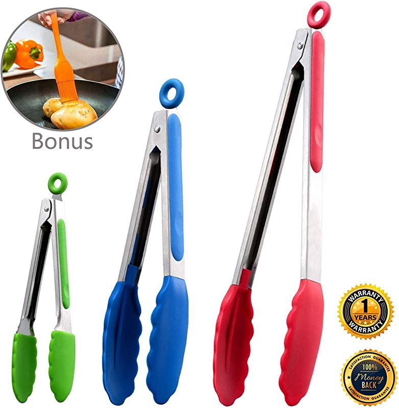 Kitchen Tongs Set Of 3 Stainless Steel Tongs With Silicone Tips For Cooking Barbecue BBQ Grill Extra Bonus Basting Brush For Grilling Multicolor