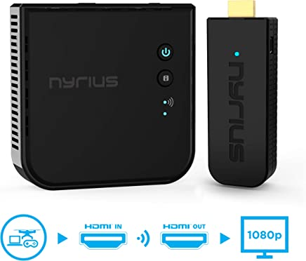 $249 Get Nyrius Aries Pro Wireless HDMI Transmitter and Receiver to Stream HD 1080p 3D Video from Laptop, PC, Cable, Netflix, YouTube, PS4, Xbox 1, Drones, Pro Camera, to HDTV/Projector/Monitor (NPCS600)
