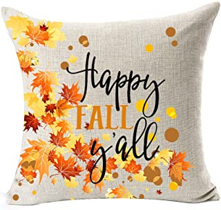 Pumpkin Maple Leaf Wreath Personalized Happy Fall Y'all Letters Halloween Thanksgiving Gifts New Home Room Sofa Car Decorative Cotton Linen Throw Pillow Case Cushion Cover Square 18 X 18 Inches