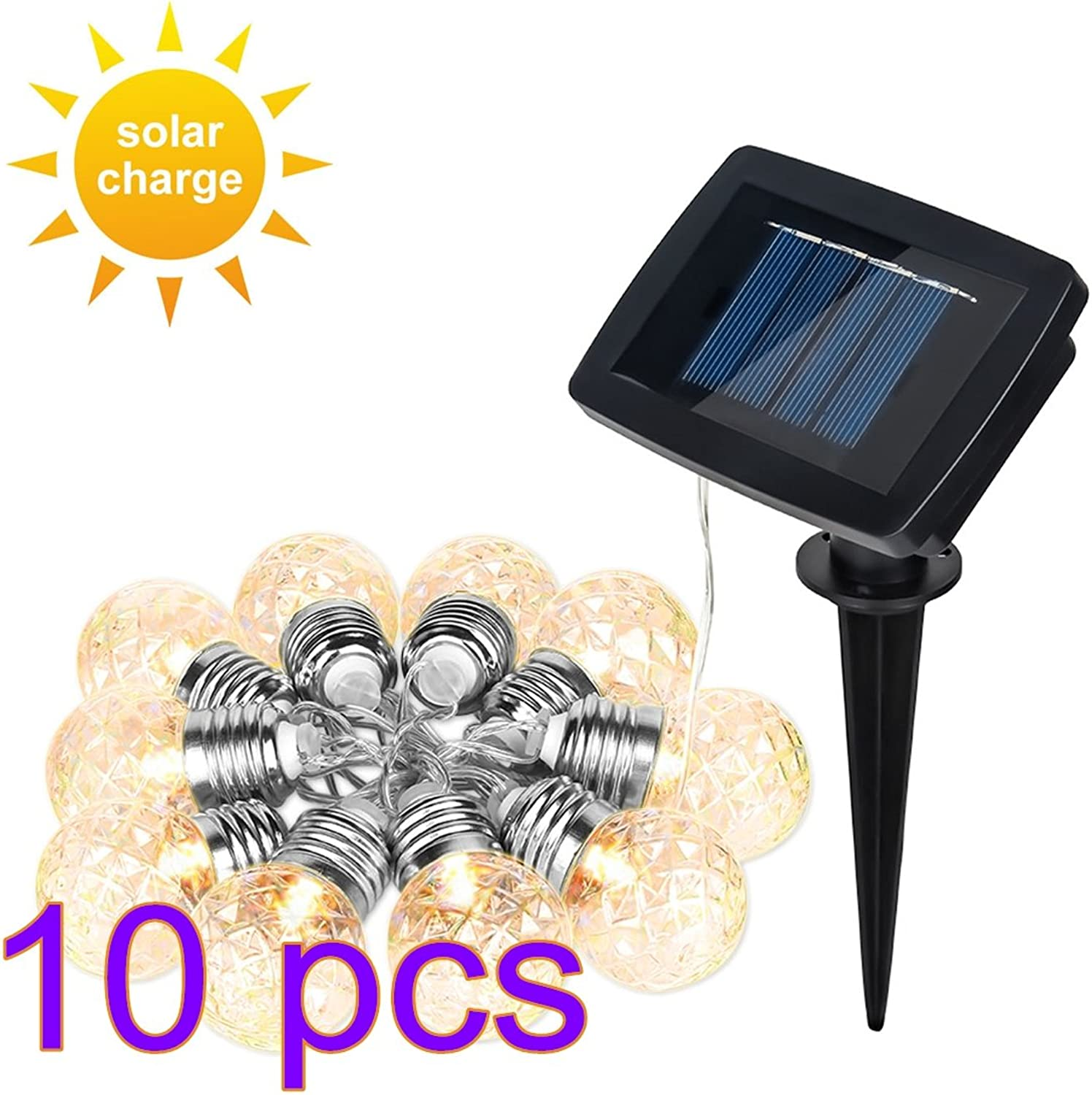 DDSKY 10-Pack Pineapple Solar Powered String Lights 3.8m 12.5ft 10 LED Solar String Light with 2 Modes, Waterproof LED Decorative Lights for Home Bathroom Party Garden Yard Christmas