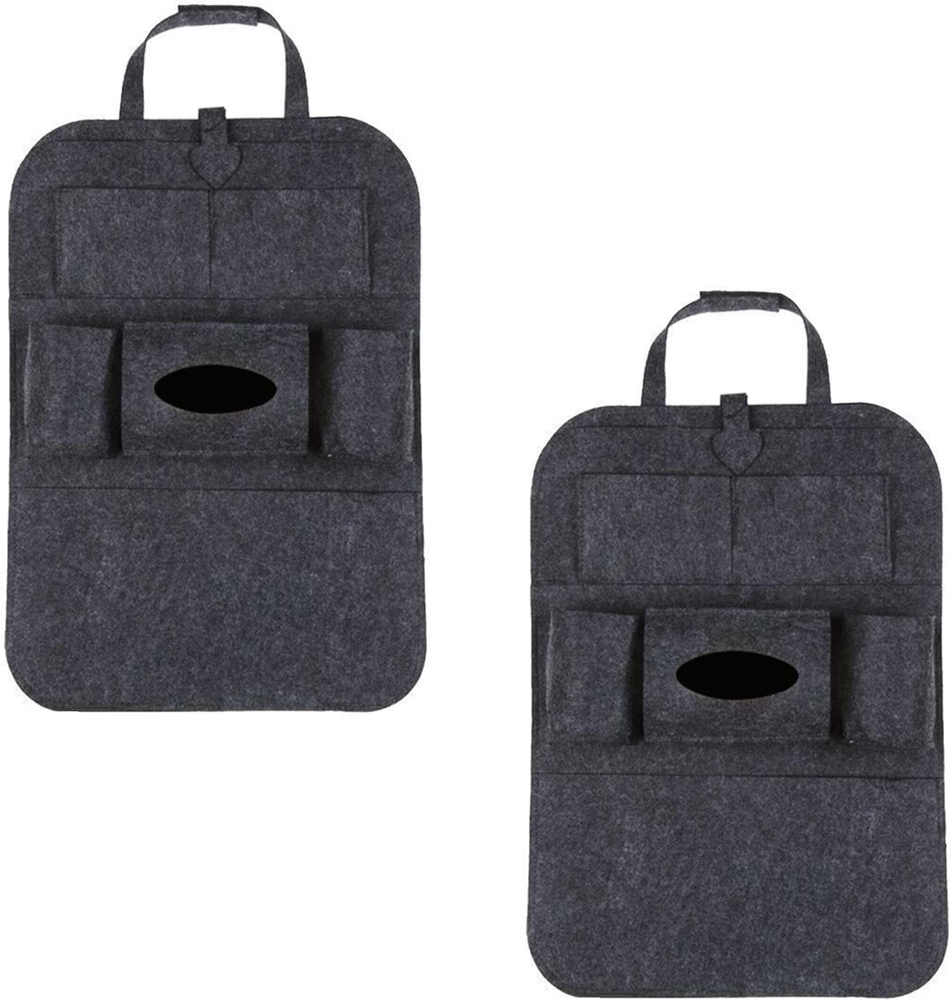 N\O Heiqlay Car Backseat Organizer Car Seat Storage Bag Universal Car Back Seat Organiser Car Bin Car Storage Organiser 40x56cm 2pcs Multi-pocket Car Organisation Black