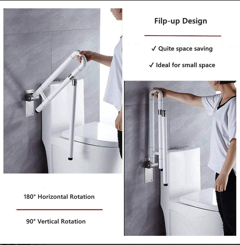 Color : White Edelstahl und Nylon Barrierefreie WC Stand Up Helfer RSBCSHI Bad Handl/äufe 60 /× 70 cm for Senioren geeignet Schwangere Frauen Toiletten