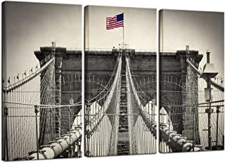 sechars - 3 Piece Canvas Wall Art Black and White Brooklyn Bridge Picture Canvas Prints Vintage NYC Poster Canvas Decor for Living Room Office Gallery Wrapped Ready to Hang