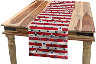 Ambesonne USA Table Runner, Patriotic Pattern Love My Country Continent American Federal Freedom Image, Dining Room Kitche...