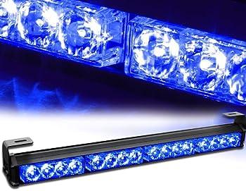 """18/"""" Blue Emergency LED Strobe Light Bar Patrol Truck Linear Traffic Advisor"""