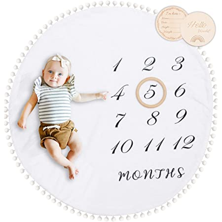 """Baby Milestone Monthly Blanket with Double-Sided Milestone Cards and Circle Ring Play Mat Large(43.3"""" X43.3') Double Sided Pom Pom Ball Thick Flannel Round Rug for Boy Girl, Baby Photography Props"""