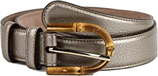 3c3af42bfcf0c Gucci Women s Metallic Leather Belt with Bamboo Buckle 322954 9524