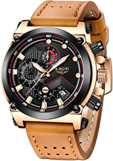 LIGE Men's Fashion Sport Quartz Watch with Brown Leather Strap Chronograph Waterproof Auto Date Analog Black Men Wrist Wat...